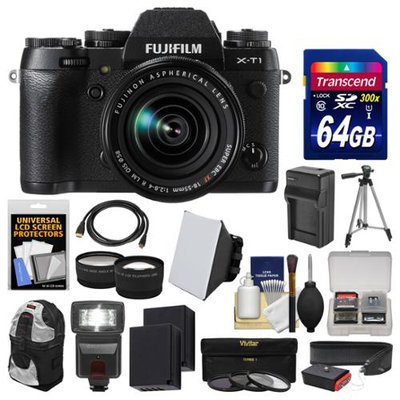 Fujifilm X-T1 Weather Resistant Digital Camera & 18-55mm XF Lens with 64GB Card + Backpack + Flash + Batteries & Charger + Tripod + Tele/Wide Lens Kit with FUJIFILM USA Warranty
