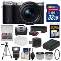 Samsung NX500 Smart Wi-Fi 4K Digital Camera & 16-50mm Lens (Black) with 32GB Card + Case + Flash + Battery + Tripod + Filter + Tele/Wide Lens Kit with SAMSUNG USA Warranty