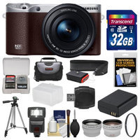 Samsung NX500 Smart Wi-Fi 4K Digital Camera & 16-50mm Lens (Brown) with 32GB Card + Case + Flash + Battery + Tripod + Filter + Tele/Wide Lens Kit with SAMSUNG USA Warranty