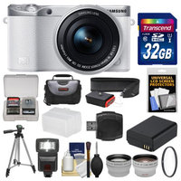 Samsung NX500 Smart Wi-Fi 4K Digital Camera & 16-50mm Lens (White) with 32GB Card + Case + Flash + Battery + Tripod + Filter + Tele/Wide Lens Kit with SAMSUNG USA Warranty