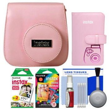 Fujifilm Groovy Camera Case for Instax Mini 8 (Pink) with 20 Twin & 10 Rainbow Prints + Photo Album + Kit