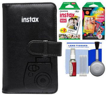 Fujifilm Instax Mini Wallet 108 Photo Album (Black) with 20 Color Prints & 10 Rainbow Prints + Kit for 7S, 8, 25, 50S, 90 Cameras with FUJIFILM USA Warranty