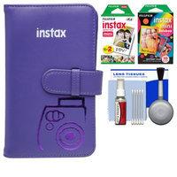 Fujifilm Instax Mini Wallet 108 Photo Album (Grape) with 20 Color Prints & 10 Rainbow Prints + Kit for 7S, 8, 25, 50S, 90 Cameras with FUJIFILM USA Warranty