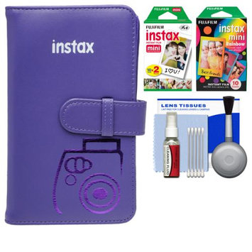 Fujifilm Instax Mini Wallet 108 Photo Album (Grape) with 20 Color Prints & 10 Rainbow Prints + Kit for 7S, 8, 25, 50S, 90 Cameras with FUJIFILM USA Warranty