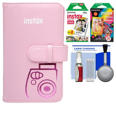 Fujifilm Instax Mini Wallet 108 Photo Album (Pink) with 20 Color Prints & 10 Rainbow Prints + Kit for 7S, 8, 25, 50S, 90 Cameras with FUJIFILM USA Warranty