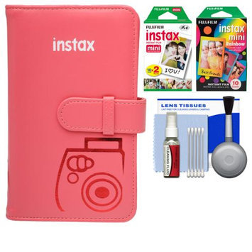 Fujifilm Instax Mini Wallet 108 Photo Album (Raspberry) with 20 Color Prints & 10 Rainbow Prints + Kit for 7S, 8, 25, 50S, 90 Cameras with FUJIFILM USA Warranty