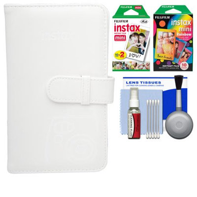 Fujifilm Instax Mini Wallet 108 Photo Album (White) with 20 Color Prints & 10 Rainbow Prints + Kit for 7S, 8, 25, 50S, 90 Cameras with FUJIFILM USA Warranty