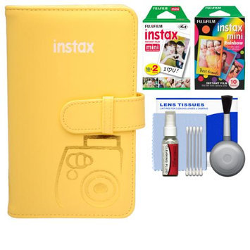 Fujifilm Instax Mini Wallet 108 Photo Album (Yellow) with 20 Color Prints & 10 Rainbow Prints + Kit for 7S, 8, 25, 50S, 90 Cameras with FUJIFILM USA Warranty