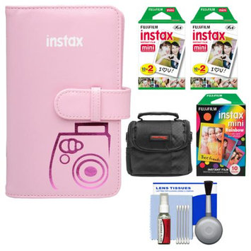 Fujifilm Instax Mini Wallet 108 Photo Album (Pink) with 40 Color Prints & 10 Rainbow Prints + Case + Kit for 7S, 8, 25, 50S, 90 Cameras with FUJIFILM USA Warranty