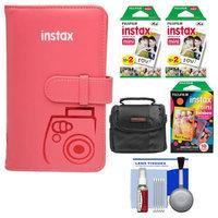 Fujifilm Instax Mini Wallet 108 Photo Album (Raspberry) with 40 Color Prints & 10 Rainbow Prints + Case + Kit for 7S, 8, 25, 50S, 90 Cameras with FUJIFILM USA Warranty