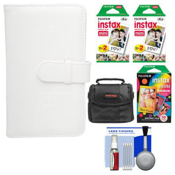 Fujifilm Instax Mini Wallet 108 Photo Album (White) with 40 Color Prints & 10 Rainbow Prints + Case + Kit for 7S, 8, 25, 50S, 90 Cameras with FUJIFILM USA Warranty