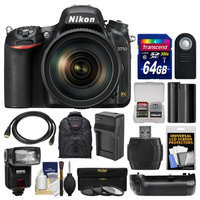 Nikon D750 Digital SLR Camera & 24-120mm f/4 VR Lens with 64GB Card + Backpack + Flash + Battery & Charger + Grip + Filters + Kit with NIKON USA Warranty