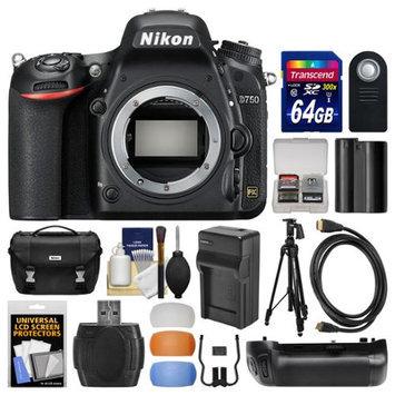 Nikon D750 Digital SLR Camera Body with 64GB Card + Case + Battery & Charger + Grip + Tripod + Kit with NIKON USA Warranty