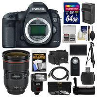 Canon EOS 5D Mark III Digital SLR Camera Body with 24-70mm f/2.8 L Lens + 64GB Card + Case + Flash + Battery/Charger + Grip + Tripod Kit with CANON USA Warranty