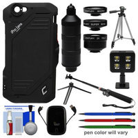 iPro 2x Tele / Super Wide / Macro Lens System Trio Kit & Case for Apple iPhone 6 with Power Pack + Selfie Stick + Video Light + Tripod + (3) Stylus Pens + Kit with SCHNEIDER OPTICS USA Warranty
