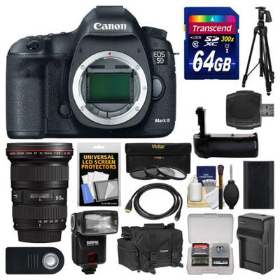 Canon EOS 5D Mark III Digital SLR Camera Body with 16-35mm f/2.8 L Lens + 64GB Card + Case + Flash + Battery/Charger + Grip + Tripod Kit with CANON USA Warranty