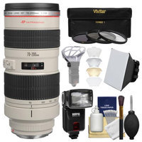 Canon EF 70-200mm f/2.8L USM Zoom Lens with Flash + Softbox + Diffuser + 3 Filters Kit for EOS 6D, 70D, 7D, 5DS, 5D Mark II III, Rebel T5, T5i, T6i, T6s, SL1 Camera with CANON USA Warranty