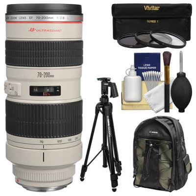 Canon EF 70-200mm f/2.8L USM Zoom Lens with Canon Backpack + Pistol-grip Tripod + 3 UV/CPL/ND8 Filters + Kit with CANON USA Warranty