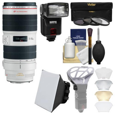Canon EF 70-200mm f/2.8 L IS II USM Zoom Lens with Flash + Soft Box + Diffuser + 3 Filters Kit for EOS 6D, 70D, 7D, 5DS, 5D Mark II III, Rebel T5, T5i, T6i, T6s Camera with CANON USA Warranty