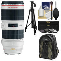 Canon EF 70-200mm f/2.8 L IS II USM Zoom Lens with Canon Backpack + Pistol-grip Tripod + 3 UV/CPL/ND8 Filters + Kit with CANON USA Warranty