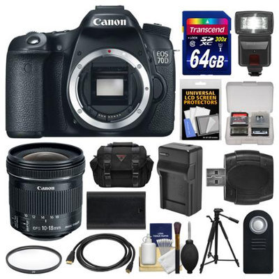 Canon EOS 70D Digital SLR Camera Body & 10-18mm IS Lens with 64GB Card + Case + Flash + Battery & Charger + Tripod + Kit with CANON USA Warranty
