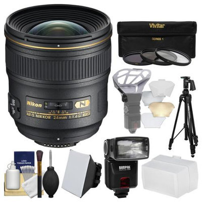 Nikon 24mm f/1.4 G AF-S Nikkor Lens with iTTL Flash + Diffuser + Tripod + 3 Filters Kit for D3200, D3300, D5300, D5500, D7100, D7200, D610, D750, D810, D4s Camera with NIKON USA Warranty