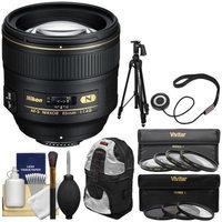 Nikon 85mm f/1.4 G AF-S Nikkor Lens with Backpack + Tripod + UV/CPL/ND8 & Macro Filter Kit for D3200, D3300, D5300, D5500, D7100, D7200, D610, D750, D810, D4s Camera with NIKON USA Warranty