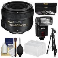 Nikon 50mm f/1.4G AF-S Nikkor Lens with iTTL Flash + Diffuser + Pistol-Grip Tripod + 3 Filters + Kit with NIKON USA Warranty