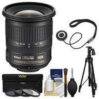 Nikon 10-24mm f/3.5-4.5 G DX AF-S ED Zoom-Nikkor Lens with Pistol-Grip Tripod + 3 Filters Kit for D3200, D3300, D5300, D5500, D7100, D7200 Camera with NIKON USA Warranty
