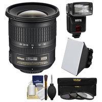 Nikon 10-24mm f/3.5-4.5 G DX AF-S ED Zoom-Nikkor Lens with Flash + Soft Box + 3 Filters + Kit for D3200, D3300, D5300, D5500, D7100, D7200 Cameras with NIKON USA Warranty