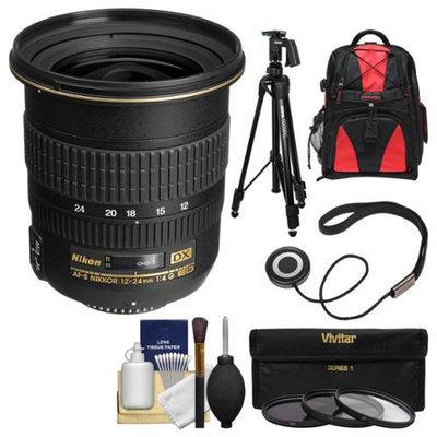 Nikon 12-24mm f/4 G DX AF-S ED-IF Zoom-Nikkor Lens + Backpack + Pistol-Grip Tripod + 3 Filters Kit for D3200, D3300, D5300, D5500, D7100, D7200 Camera with NIKON USA Warranty