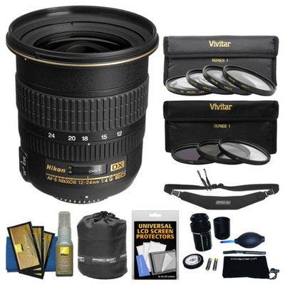 Nikon 12-24mm f/4 G DX AF-S ED-IF Zoom-Nikkor Lens with 3 UV/CPL/ND8 & 4 Macro Filters + Sling Strap Kit for D3200, D3300, D5300, D5500, D7200 Camera with NIKON USA Warranty