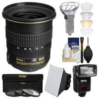 Nikon 12-24mm f/4 G DX AF-S ED-IF Zoom-Nikkor Lens with iTTL Flash + Soft Box + Diffuser Bouncer + 3 UV/CPL/ND8 Filters + Kit with NIKON USA Warranty