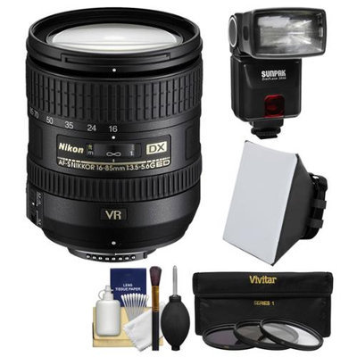 Nikon 16-85mm f/3.5-5.6 G VR DX AF-S ED Zoom-Nikkor Lens with iTTL Flash + Soft Box + 3 UV/CPL/ND8 Filters + Kit with NIKON USA Warranty