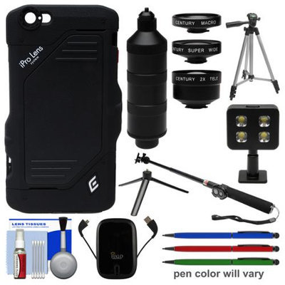 iPro 2x Tele / Super Wide / Macro Lens System Trio Kit & Case for Apple iPhone 6 Plus + Power Pack + Selfie Stick + Video Light + Tripod + Stylus Pens Kit with SCHNEIDER OPTICS USA Warranty