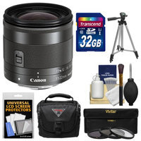 Canon EF-M 11-22mm f/4-5.6 IS STM Lens with 32GB Card + Case + 3 UV/CPL/ND8 Filters + Tripod + Kit