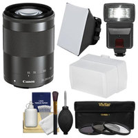 Canon EF-M 55-200mm f/4.5-6.3 IS STM Lens with Flash + Soft Box + Bounce Diffuser + 3 UV/CPL/ND8 Filters + Kit