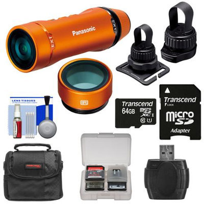 Panasonic HX-A1 HD Wi-Fi Waterproof POV Action Video Camera Camcorder (Orange) with Multi & Tripod Mounts + 64GB Card + Case + Reader + Kit