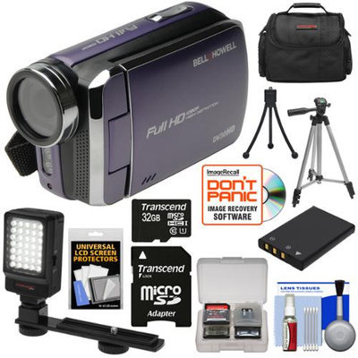 Bell & Howell DV30HD 1080p HD Video Camera Camcorder (Purple) with 32GB Card + Battery + Case + Tripods + LED Video Light + Kit