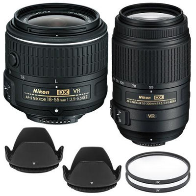 Nikon 18-55mm f/3.5-5.6G VR II DX AF-S Zoom-Nikkor Lens - Factory Refurbished with 55-300mm G VR DX Zoom Lens + Filters + Hoods + Kit