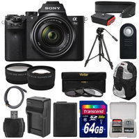 Sony Alpha A7 II Digital Camera & 28-70mm FE OSS Lens with 64GB Card + Battery & Charger + Backpack + Tripod + Tele/Wide Lens Kit + SONY USA Warranty