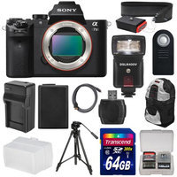 Sony Alpha A7 II Digital Camera Body with 64GB Card + Battery + Charger + Backpack Case + Tripod + Flash + Diffuser + Kit + SONY USA Warranty