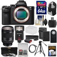 Sony Alpha A7 II Digital Camera Body with FE 24-240mm Lens + 64GB Card + Battery + Charger + Backpack + Tripod + Flash + Kit + SONY USA Warranty