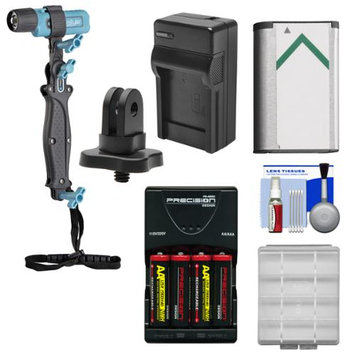 UKPro POV Freestyler Video Light Kit with 1/4 inch Thread Adapter + NP-BX1 Battery + Charger + AA Batteries & Charger + Kit