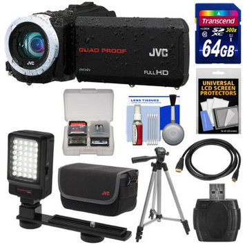 JVC Everio GZ-R10 Quad Proof Full HD Digital Video Camera Camcorder (Black) with 64GB Card + Case + LED Light + Tripod + Kit
