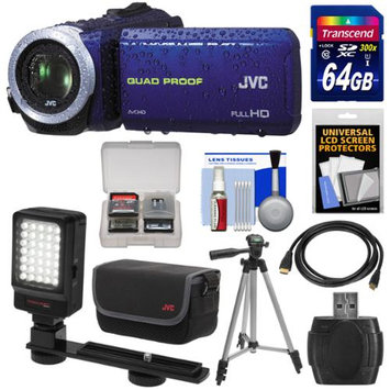 JVC Everio GZ-R10 Quad Proof Full HD Digital Video Camera Camcorder (Blue) with 64GB Card + Case + LED Light + Tripod + Kit