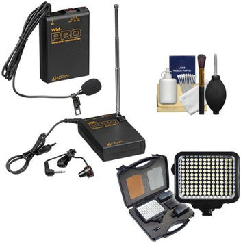 Azden WLX-PRO Wireless Lavalier Lapel Mic System with LED Video Light + Cleaning Kit