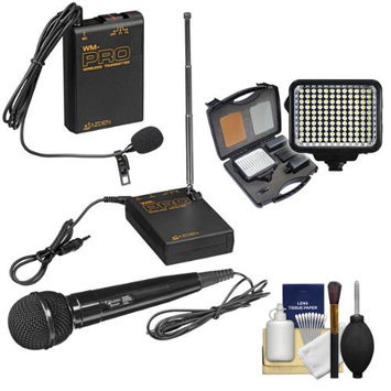 Azden WMS-PRO Wireless Microphone System with LED Video Light + Cleaning Kit