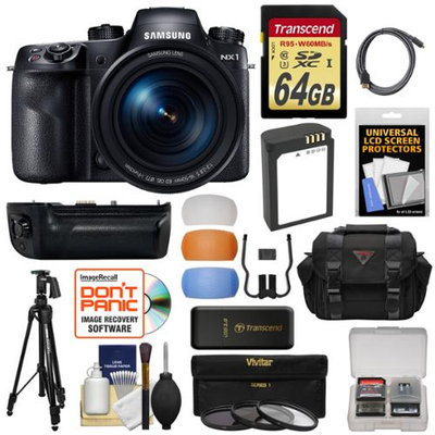 Samsung NX1 Smart Wi-Fi 4K Digital Camera & 16-50mm Lens includes Battery Grip + 64GB Card + Battery + Case + Tripod + 3 Filters + Kit with SAMSUNG USA Warranty