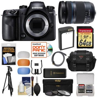 Samsung NX1 Smart Wi-Fi 4K Digital Camera Body with 18-200mm Lens + 64GB Card + Battery + Case + Tripod + 3 Filters + Kit with SAMSUNG USA Warranty